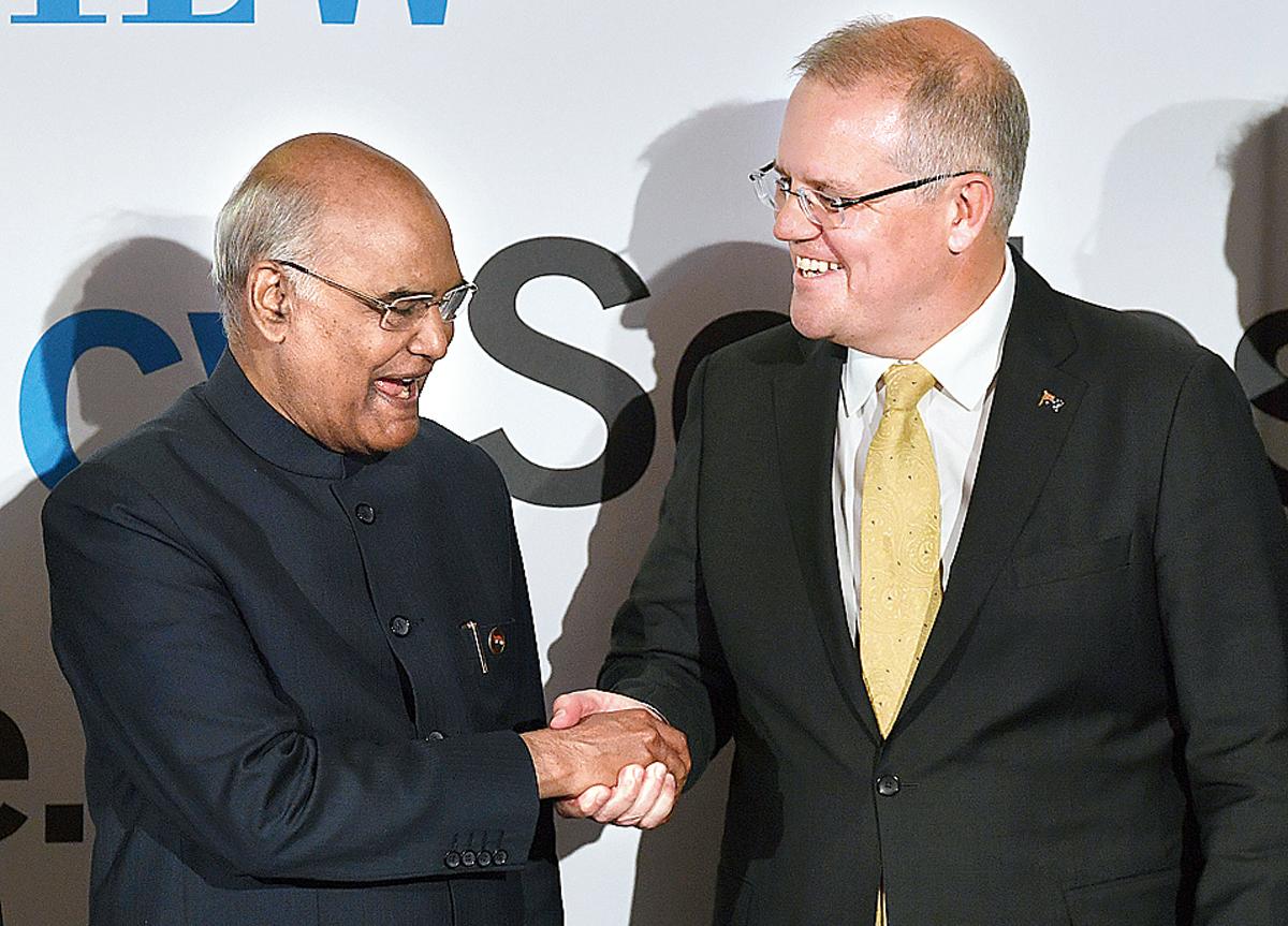 Ram Nath Kovind with Scott Morrison in Sydney on Thursday.