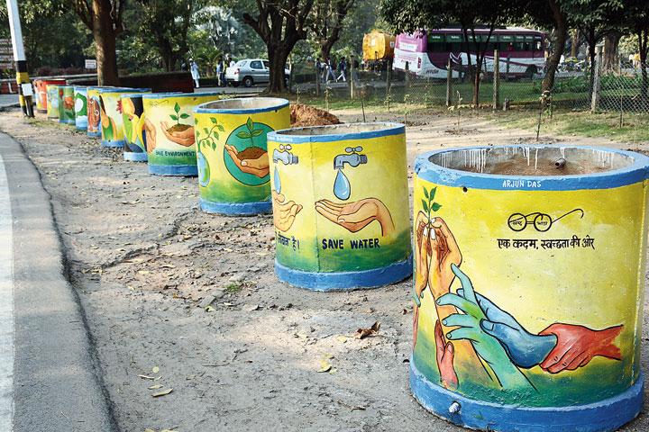 The painted water tanks at Jubilee Park in Jamshedpur on Saturday.