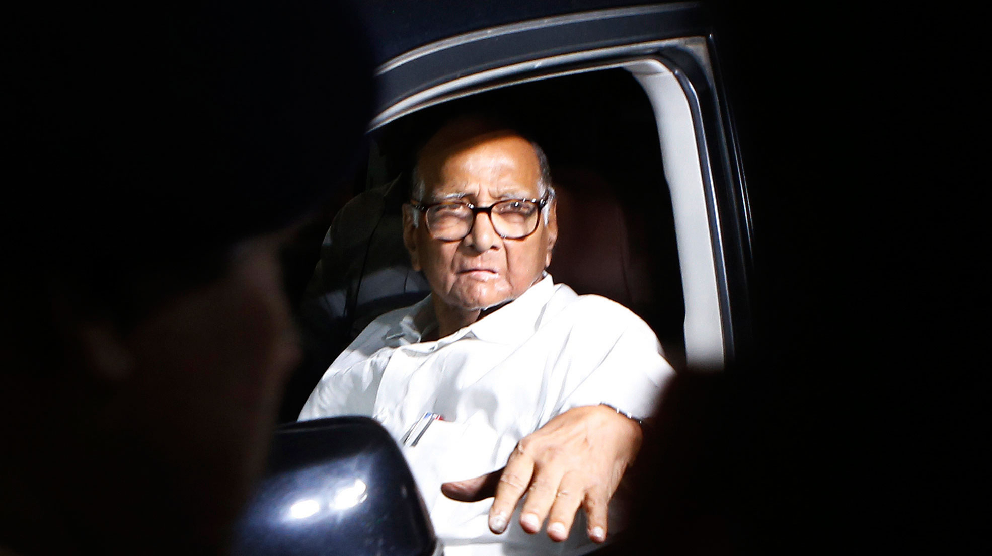 NCP president Sharad Pawar after a joint meeting with the Shiv Sena party and Congress in Mumbai on Friday.