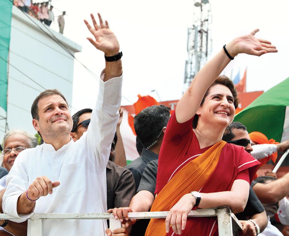 Rahul and Priyanka in Wayanad on Thursday