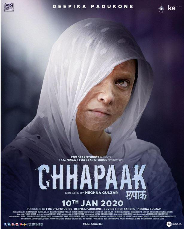 Chhapaak (u/a) Director: Meghna Gulzar Cast: Deepika Padukone, Vikrant Massey, Madhurjeet Sarghi, Vishal Dahiya Running time: 123 minutes