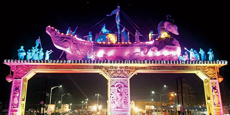 The decorated entrance to the Bali yatra ground in Cuttack on Friday.