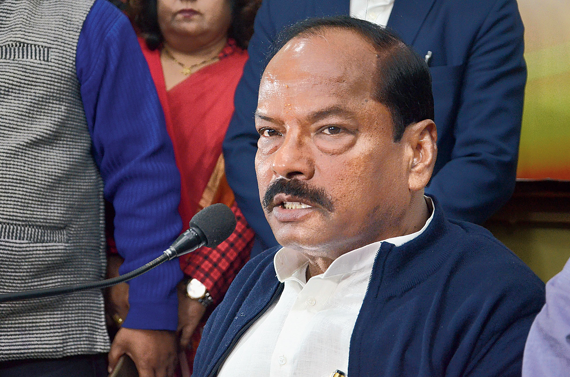 Raghubar Das addresses a news meet at the BJP office in Ranchi on Monday.
