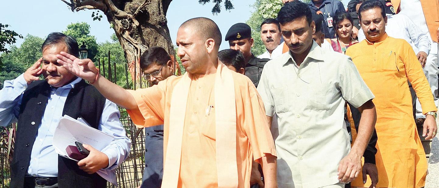 Yogi Adityanath inspects the renovation of a park in Allahabad.