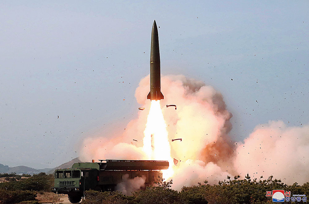 A May 4, 2019, file picture shows a missile being fired in North Korea