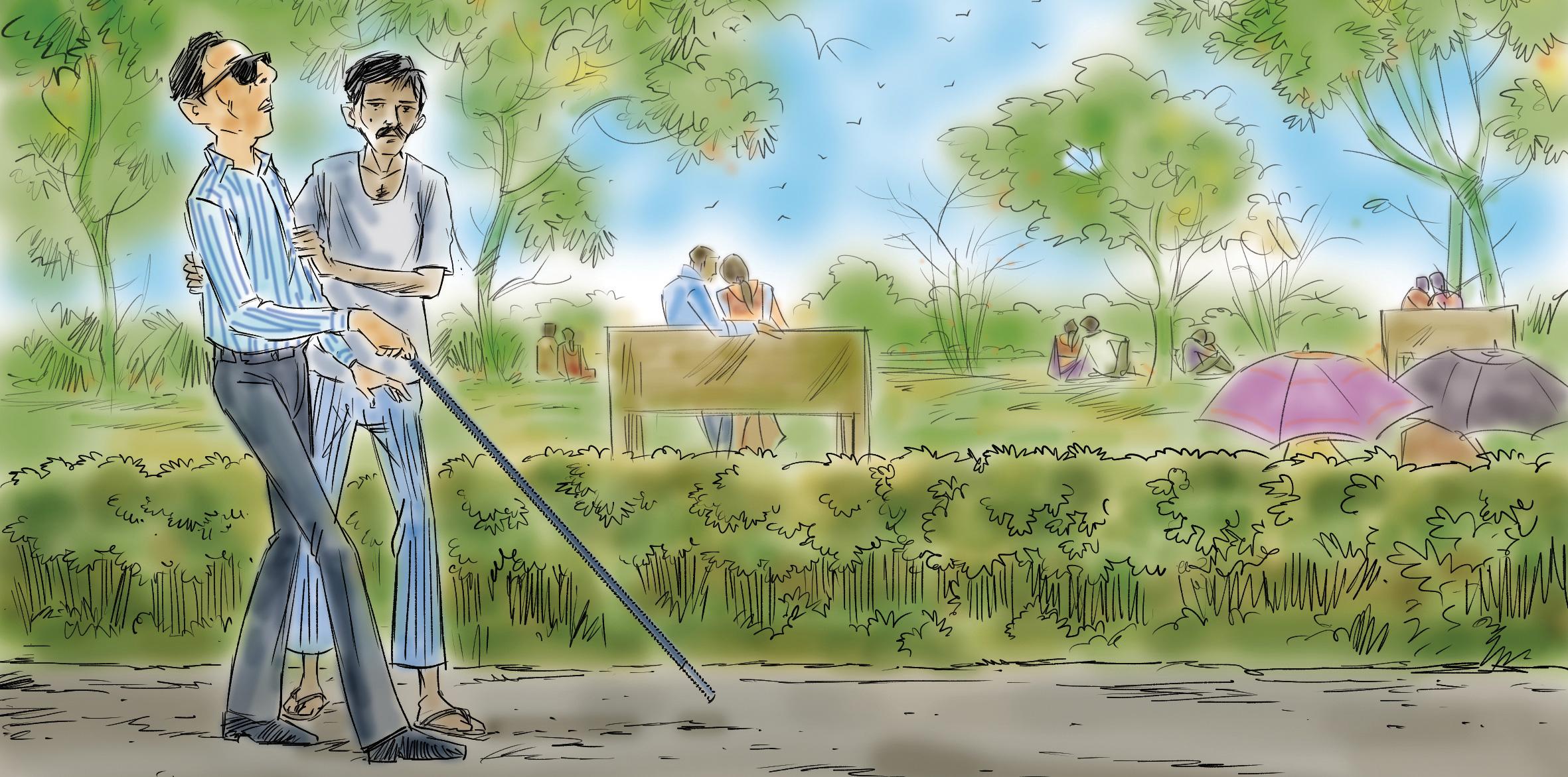 Helping a blind man.