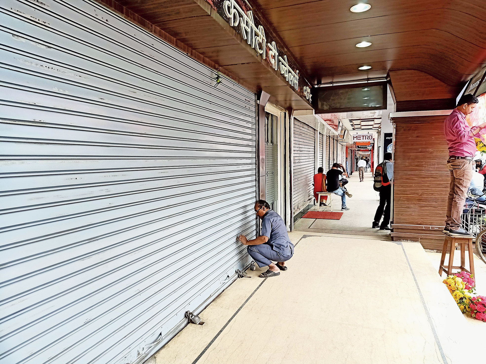 Closed shops at Church Complex on Main Road in Ranchi on Monday.