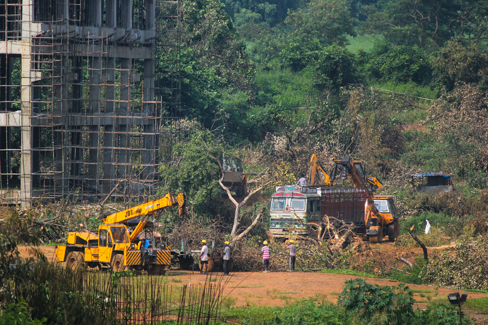 A crane clears felled trees at Mumbai's Aarey Colony on Monday. There were other areas close by, including one with environmental clearance, where the car shed could be built