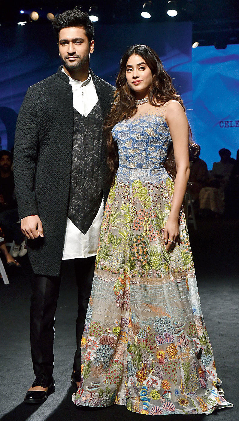 Vicky Kaushal and Janhvi Kapoor during the opening show of Lakme Fashion Week Summer/Resort 2020 on Tuesday.