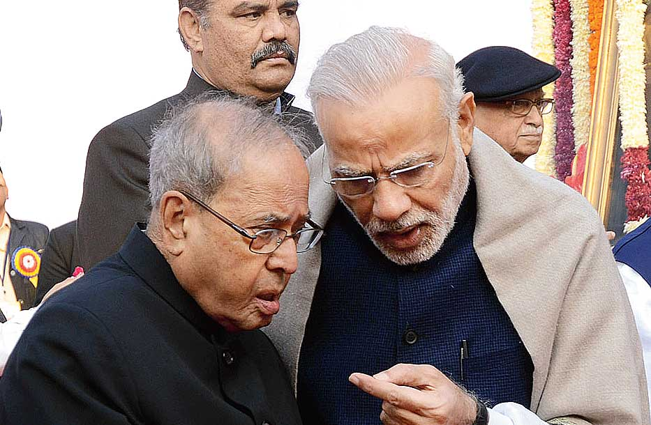 Pranab Mukherjee with Narendra Modi on Tuesday, December 6, 2016. The decision to confer the Bharat Ratna on him, Nanaji Deshmukh, and Bhupen Hazarika is but an attempt to appease different sections of the electorate before this year's general elections.