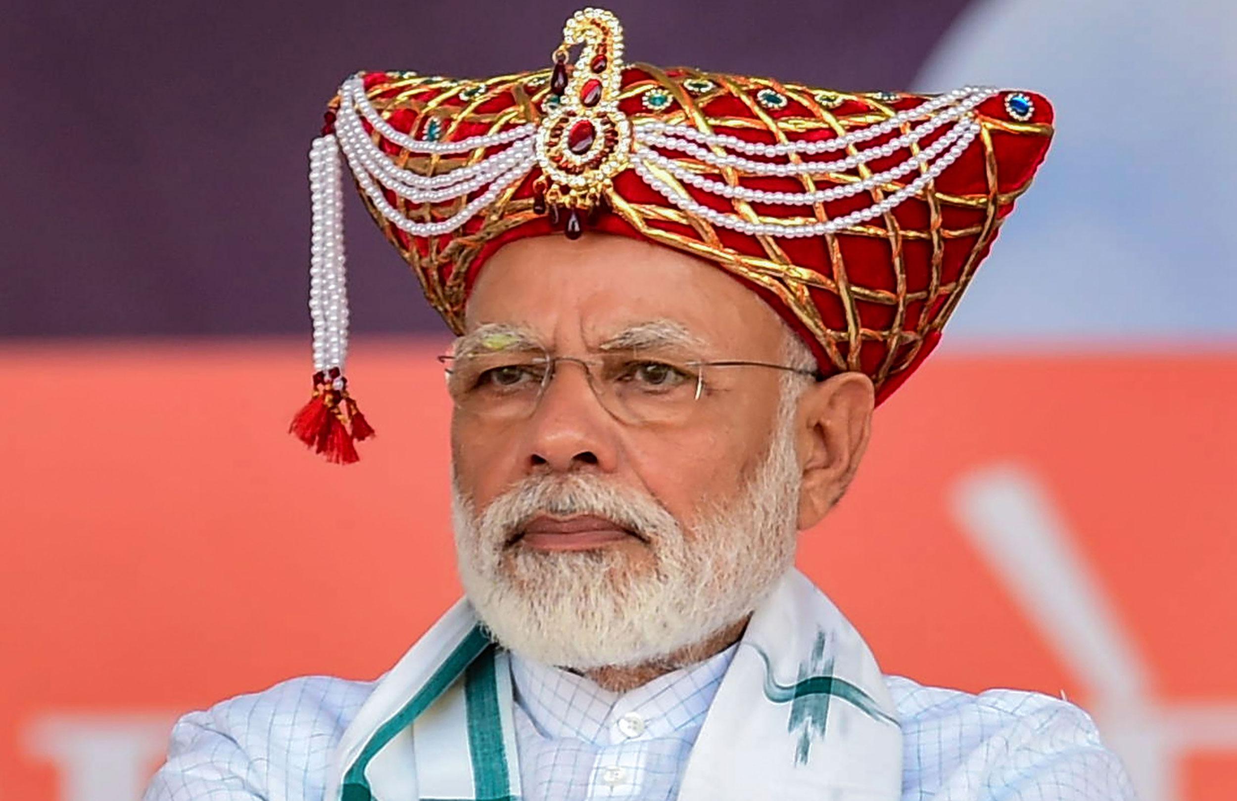 Prime Minister Narendra Modi during the 'Vijay Sankalp Rally' in Nashik on September 19, 2019.