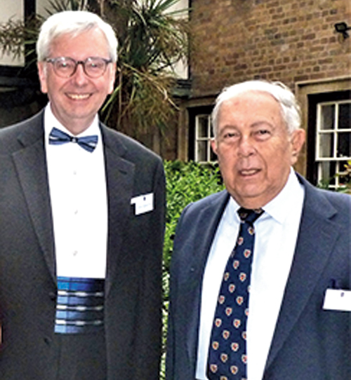 Yusuf Hamied (right) with Stephen Toope.