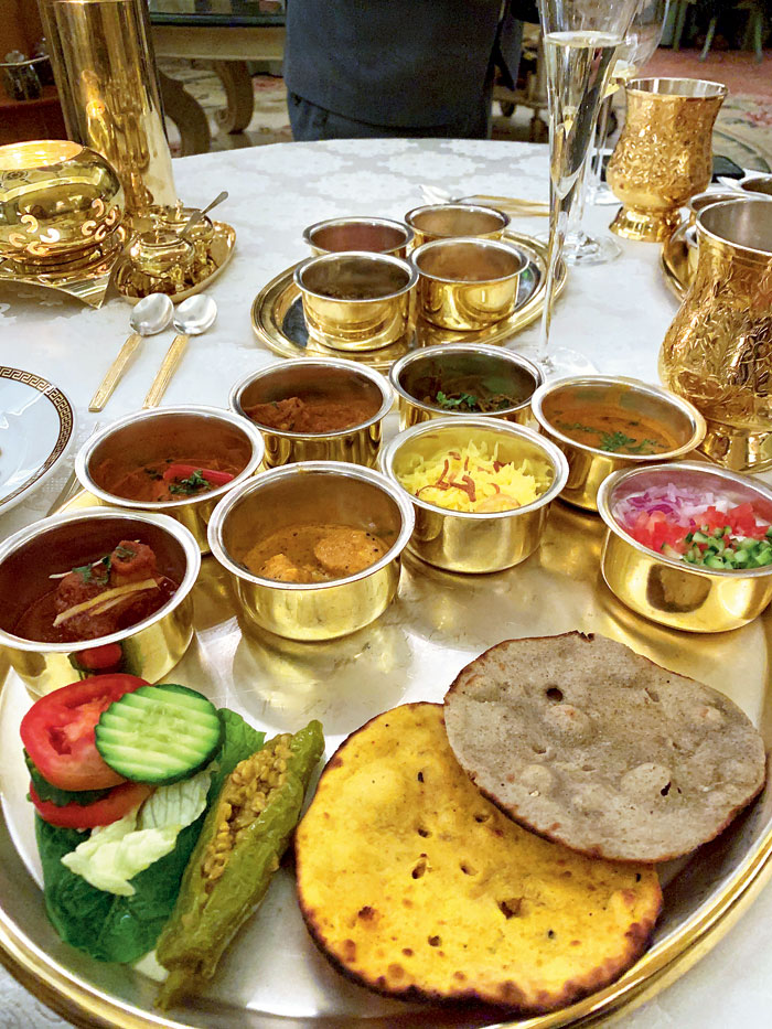 Rajasthani thali at Suvarna Mahal. The most unctuous, silky laal maans is served here
