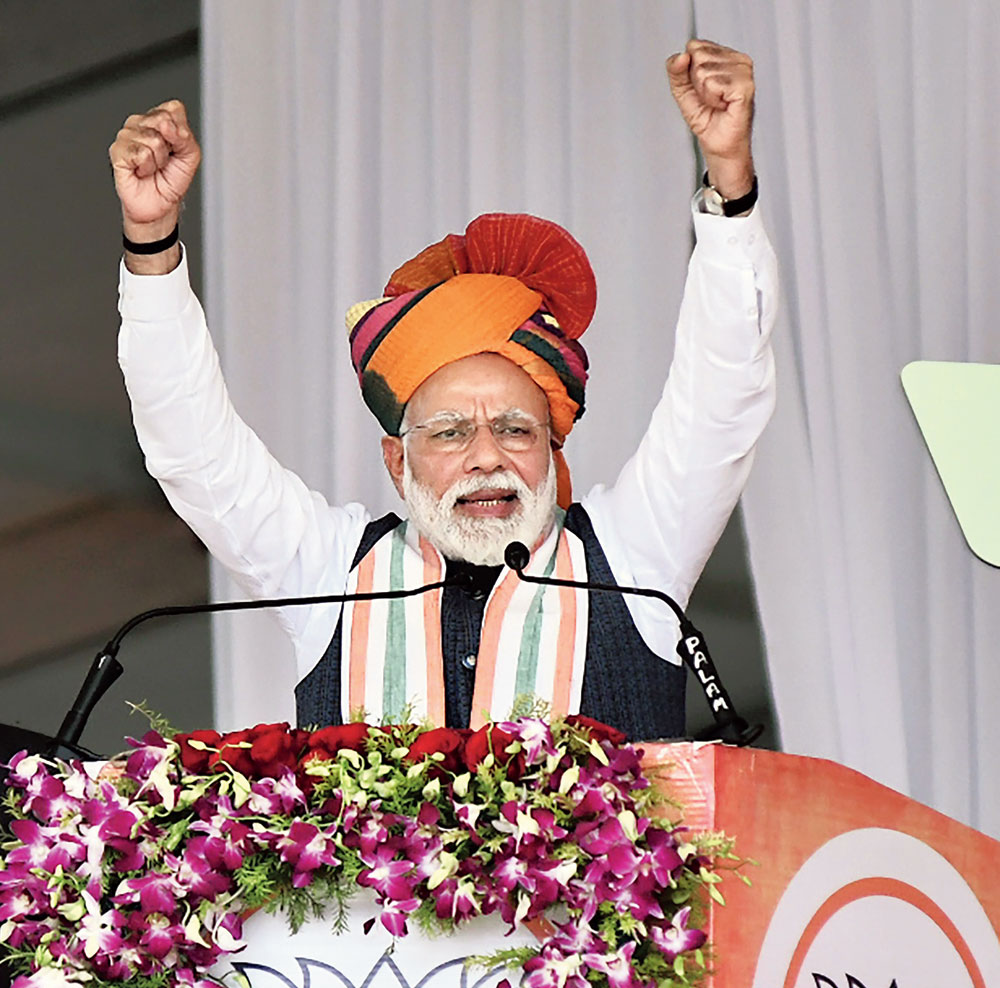 "Safe hands: PM Modi told a rally in Rajasthan on Tuesday: ""Today is a day to pay homage to India's bravehearts. Today, from the land of Churu, I want to assure the people of the country that the country is in safe hands."" He did not make any direct reference to the strikes."