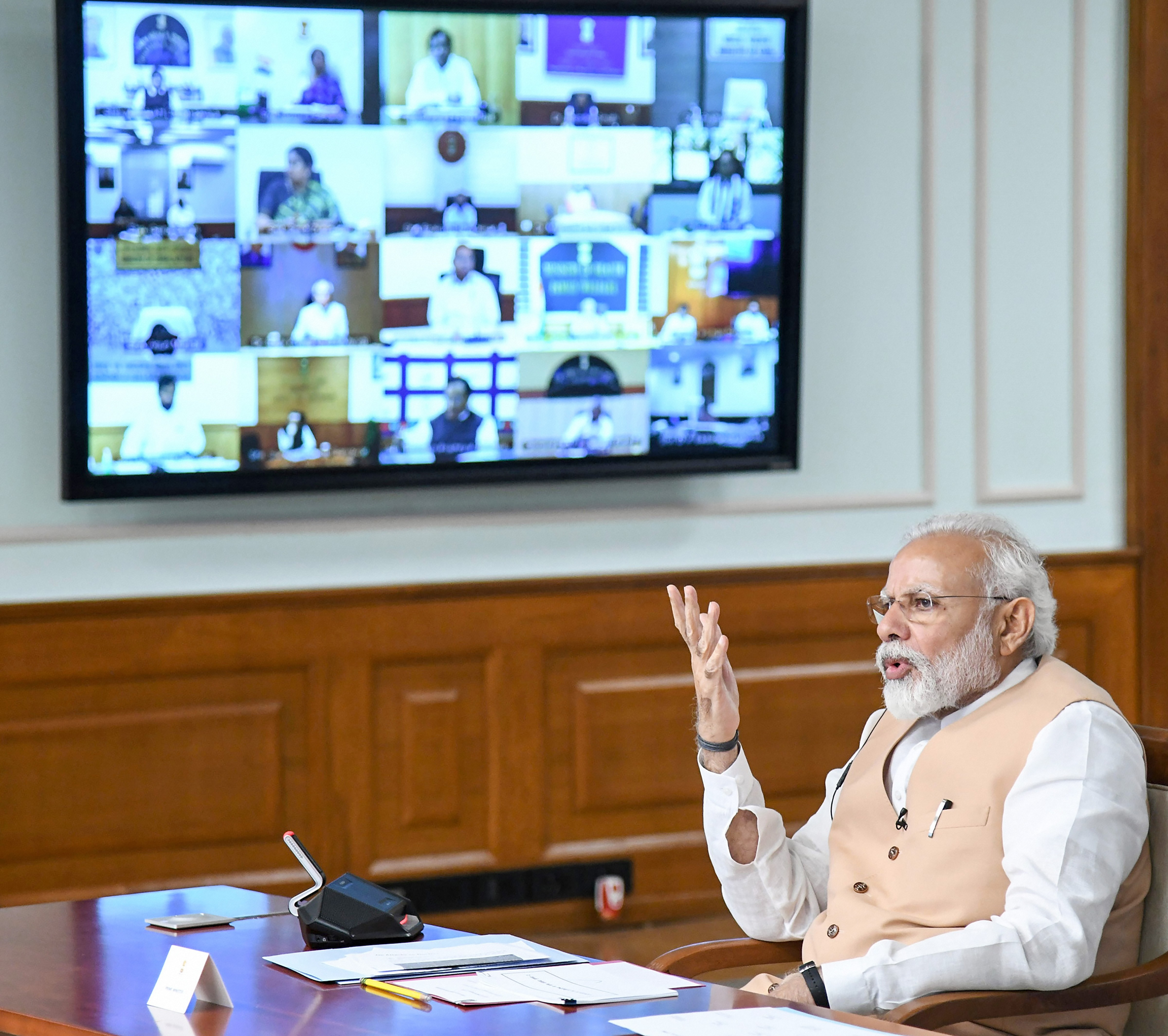 Prime Minister Narendra Modi interacts with the Central Ministers about Covid-19 via video conference, in New Delhi, Monday, April 6, 2020.