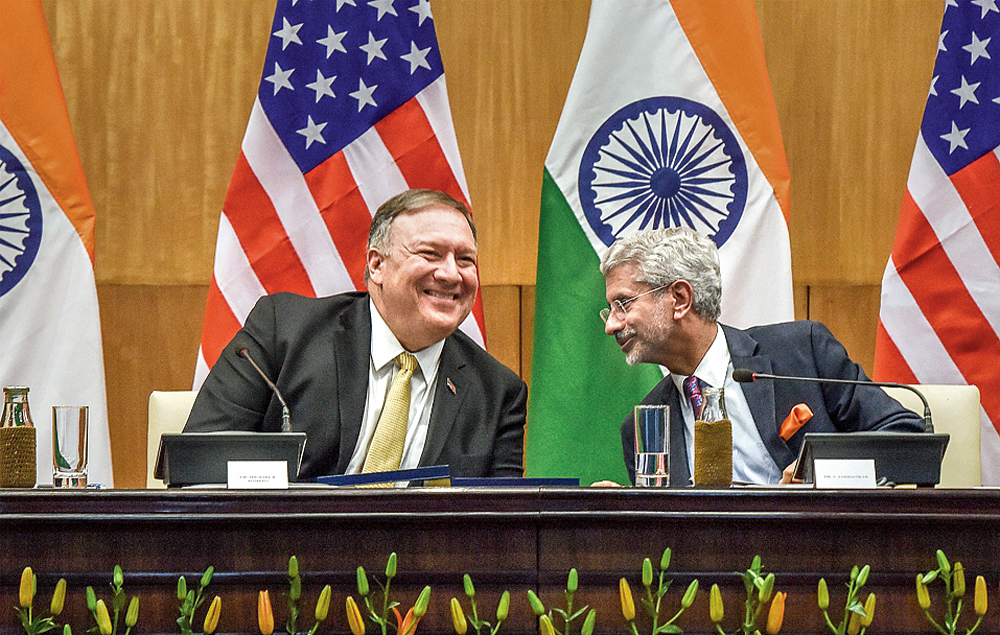 US secretary of state Mike Pompeo and external affairs minister S. Jaishankar during a joint press conference in New Delhi on Wednesday