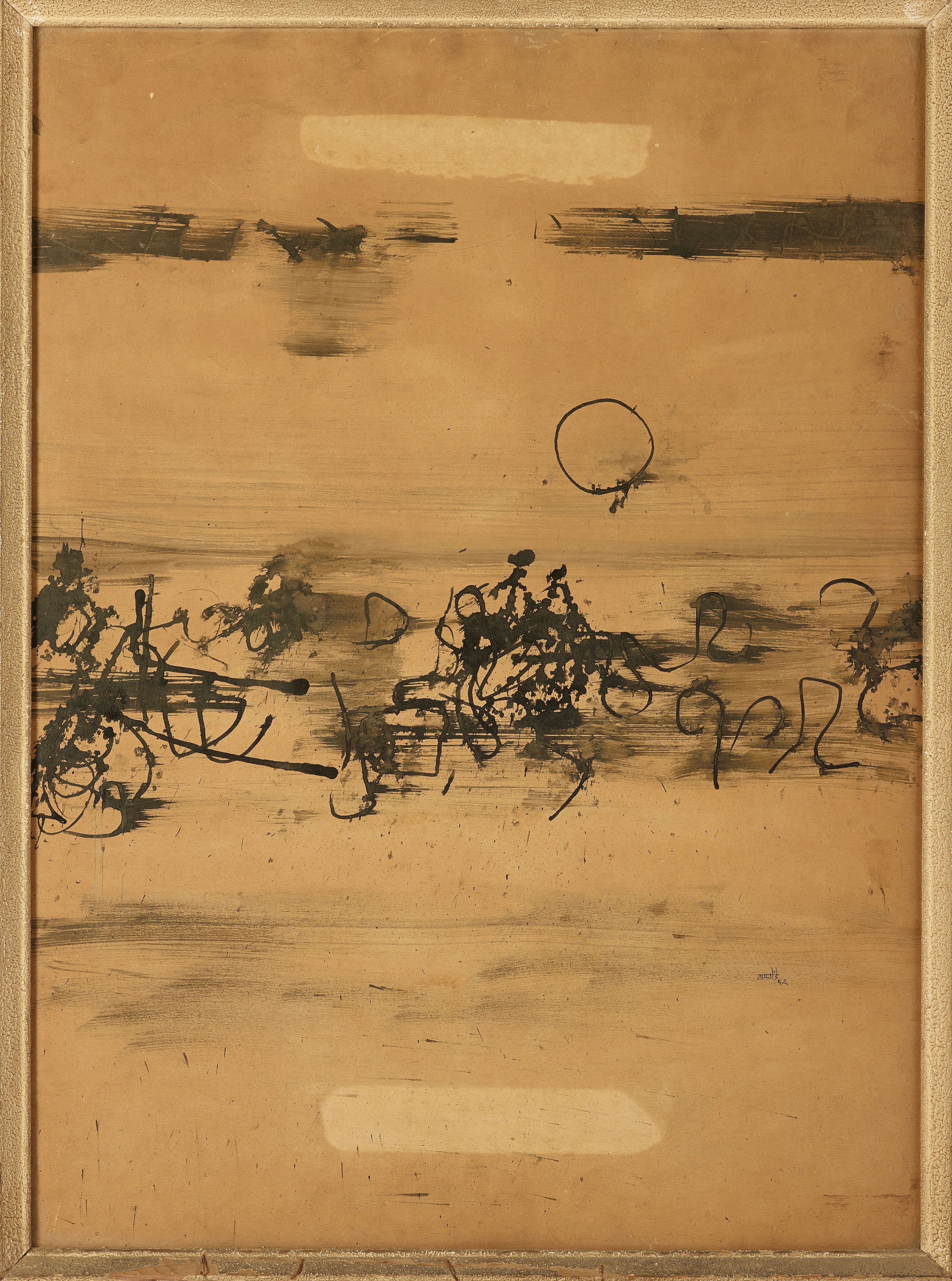 Vasudeo Gaitonde's Untitled (ink on paper), estimated at Rs 1.30 crore to Rs 1.80 crore did not sell