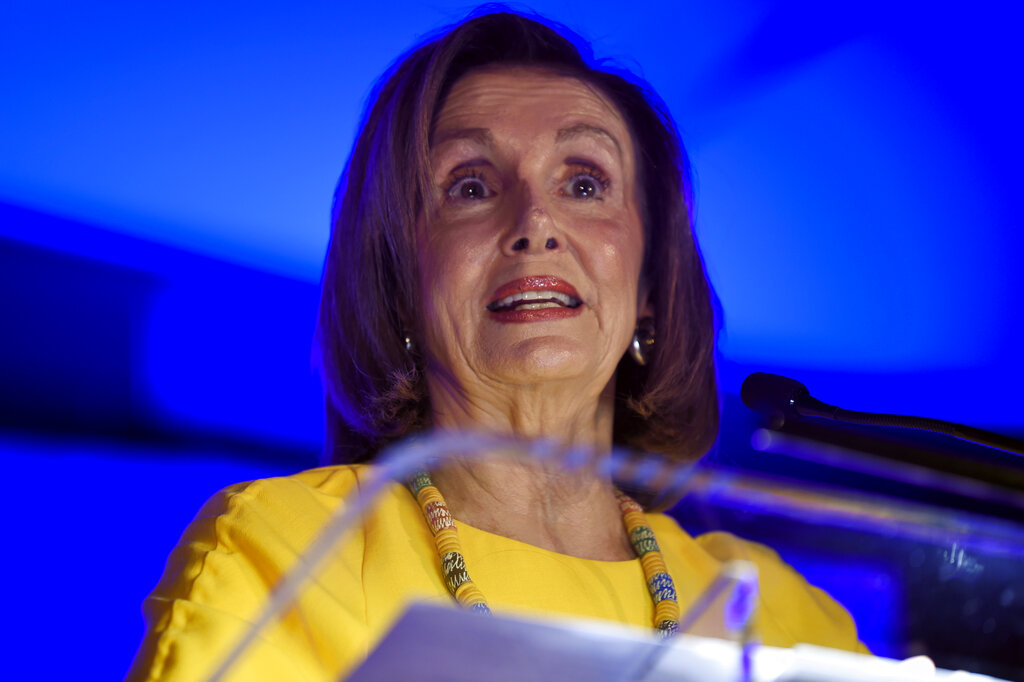 US House of Representatives speaker Nancy Pelosi addresses a gathering of the South Carolina Democratic Party on Friday, October 4, 2019, in Greenville, South Carolina.
