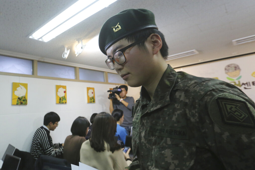 South Korean army Sergeant Byun Hui-su leaves after a press conference at the Center for Military Human Rights Korea in Seoul