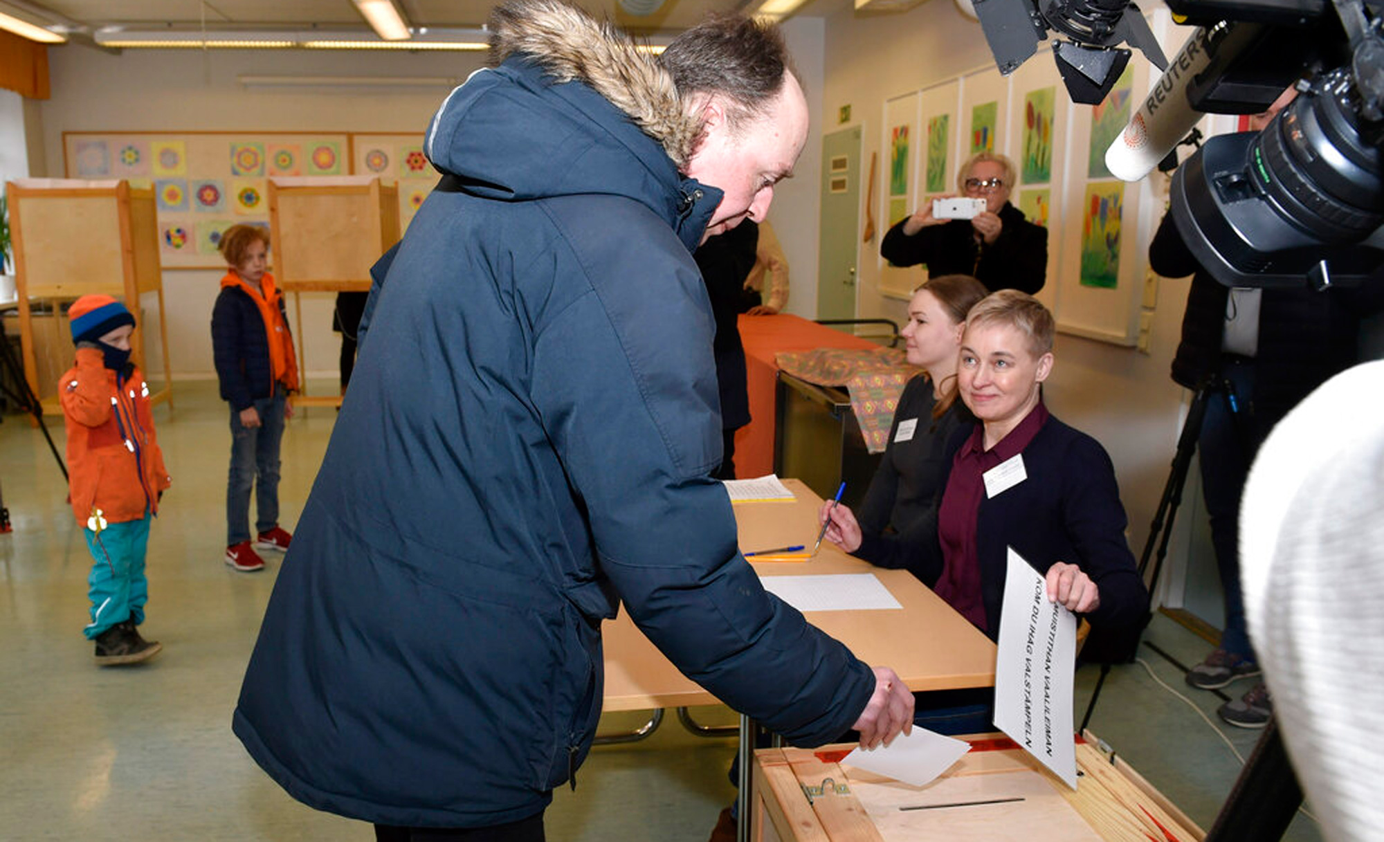 The chairman of the Finns Party and parliamentary candidate Jussi Halla-aho votes in the parliamentary elections, in Helsinki, Finland on Sunday, April 14, 2019.