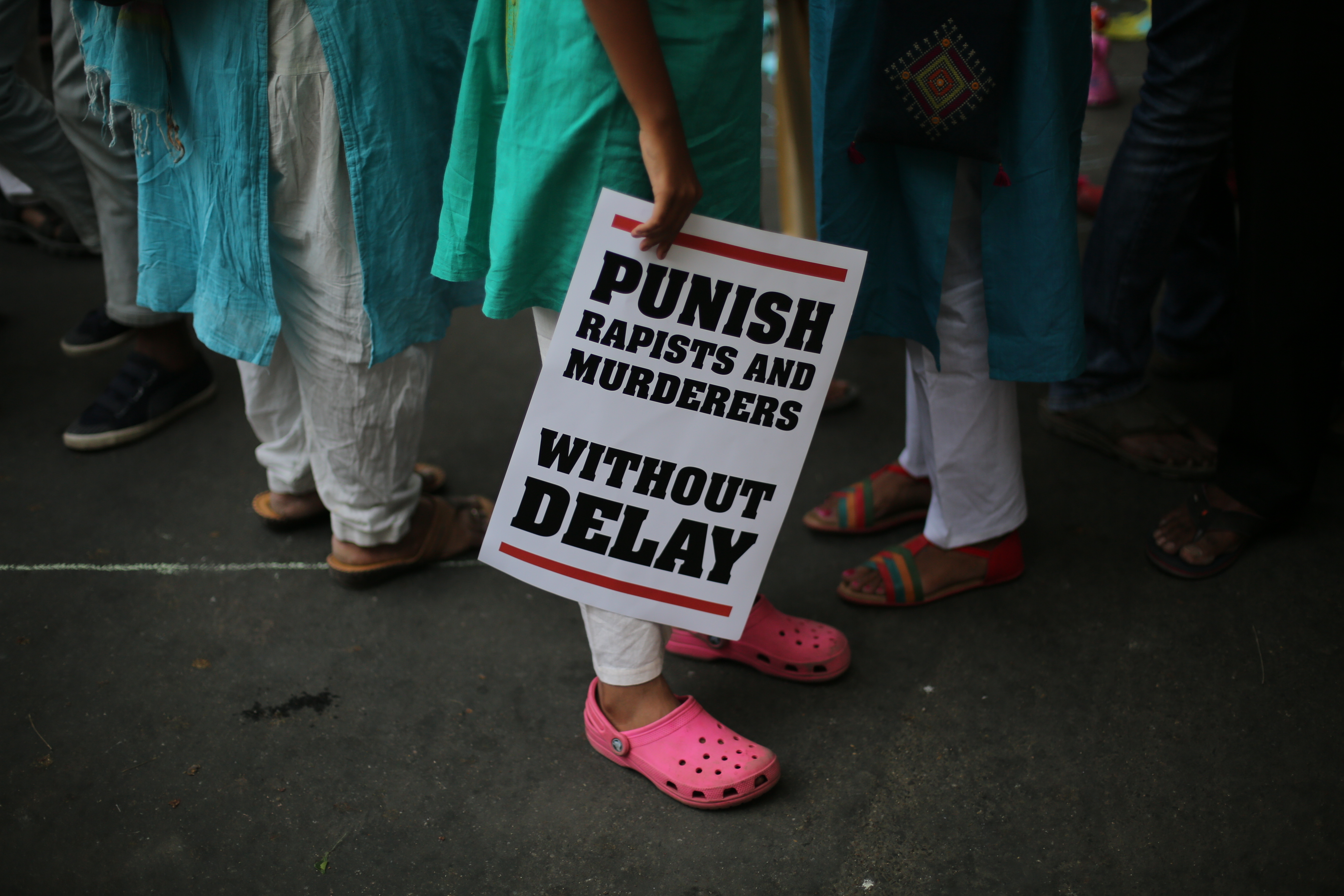 An AP file photo of a protest against rape cases, near the Indian Parliament in Delhi