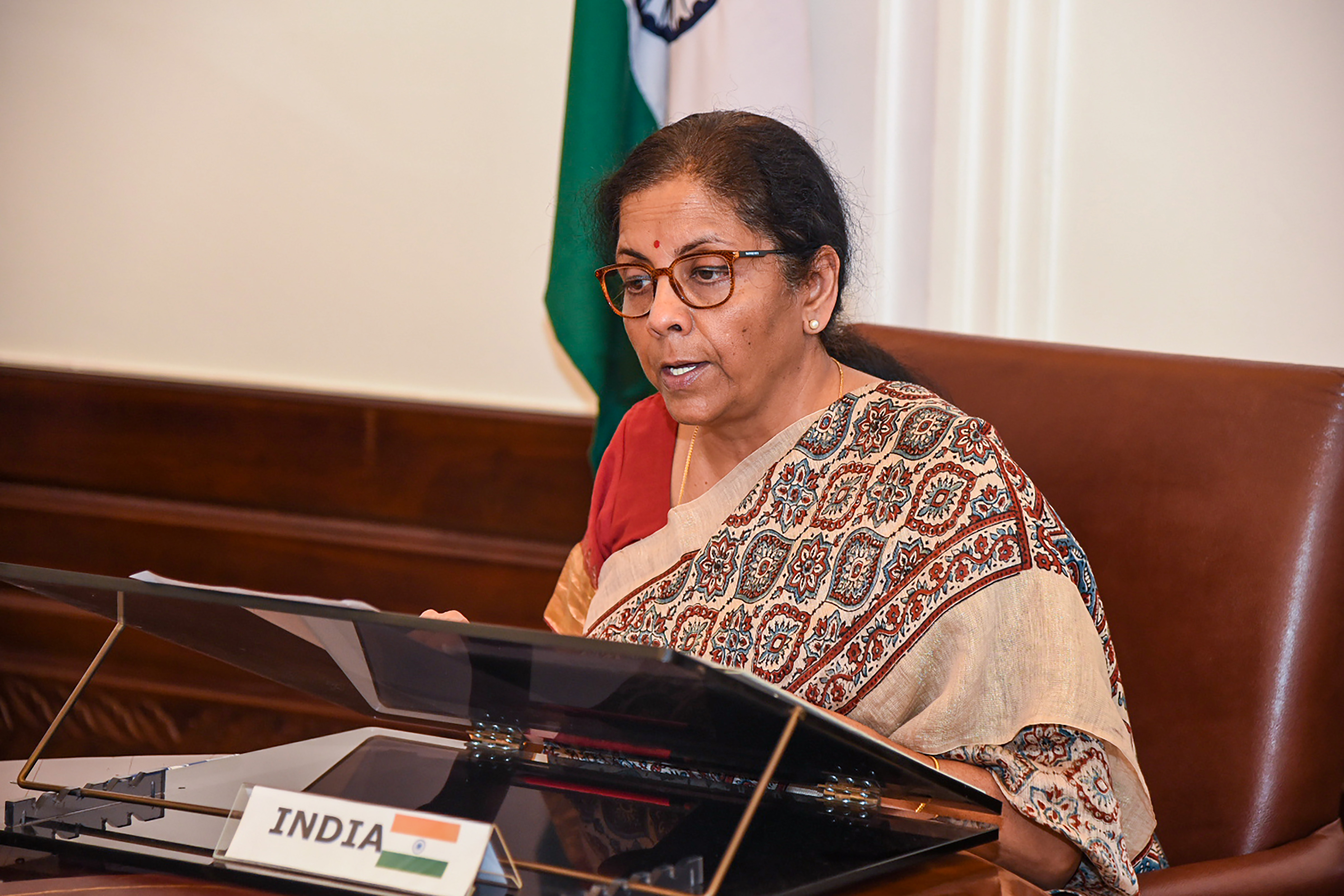 Finance Minister Nirmala Sitharaman during the 2nd meeting of G20 Finance Ministers, to discuss global economic outlook amid evolving COVID-19 pandemic, in New Delhi, Wednesday, April 15, 2020.