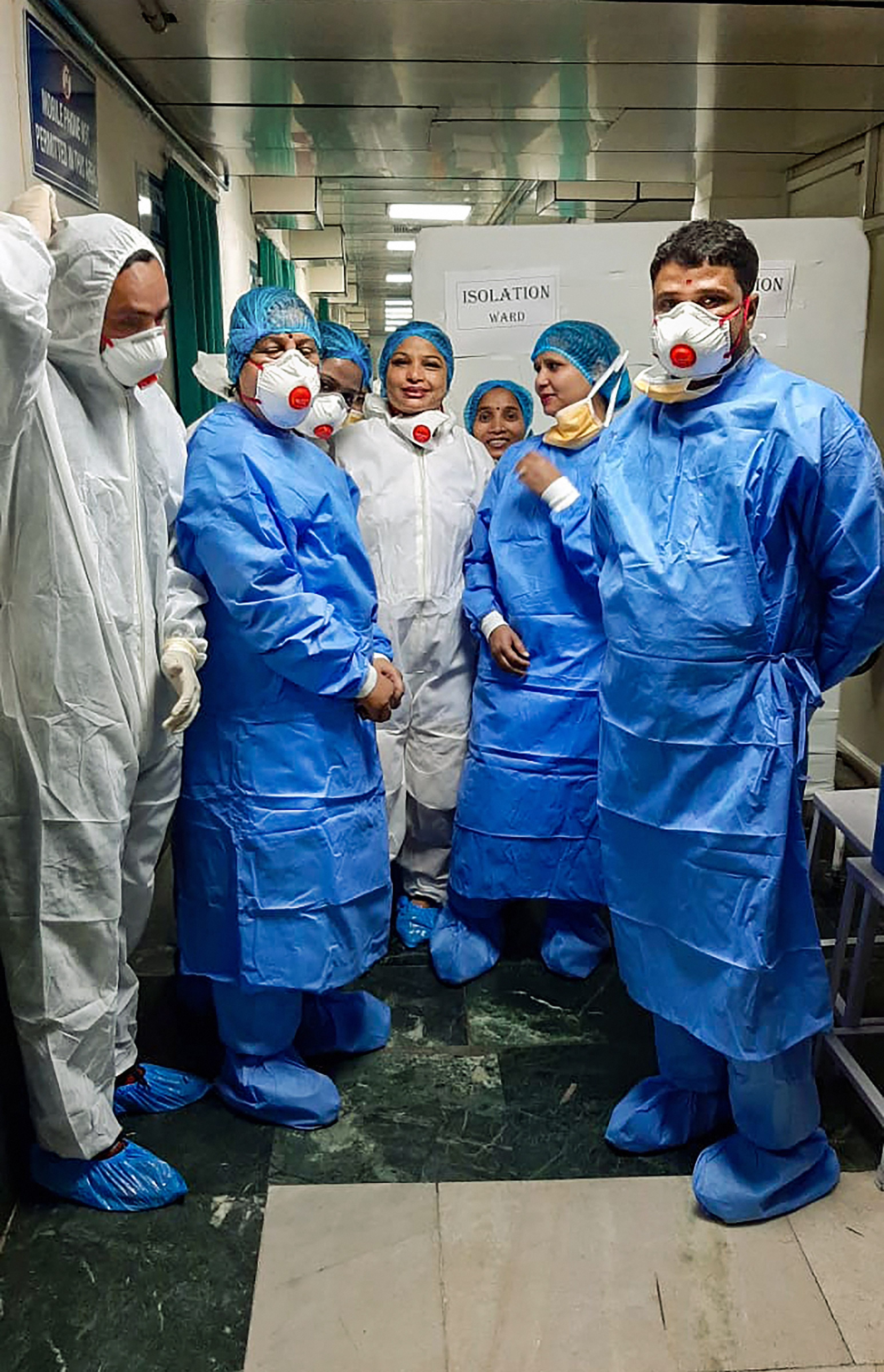 A team led by director of NCDC Dr Sujeet Singh visits the Ram Manohar Lohia Hospital to review the preparedness of the management for providing treatment to any suspected cases of the coronavirus (CoV), in New Delhi, Monday, Janaury 27, 2020.
