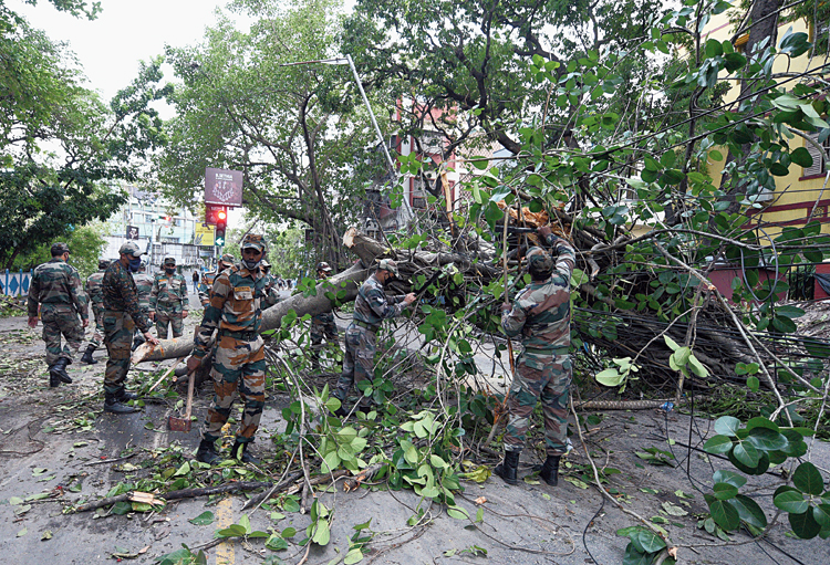 Army personnel cutting and removing trees on Ballygunge Circular Road in Calcutta on Saturday. The Kolkata Municipal Corporation (KMC) has said that over 5,000 trees, several of which are over 50 years old, have been uprooted. Environmentalists, however, have put the number at 10,000.