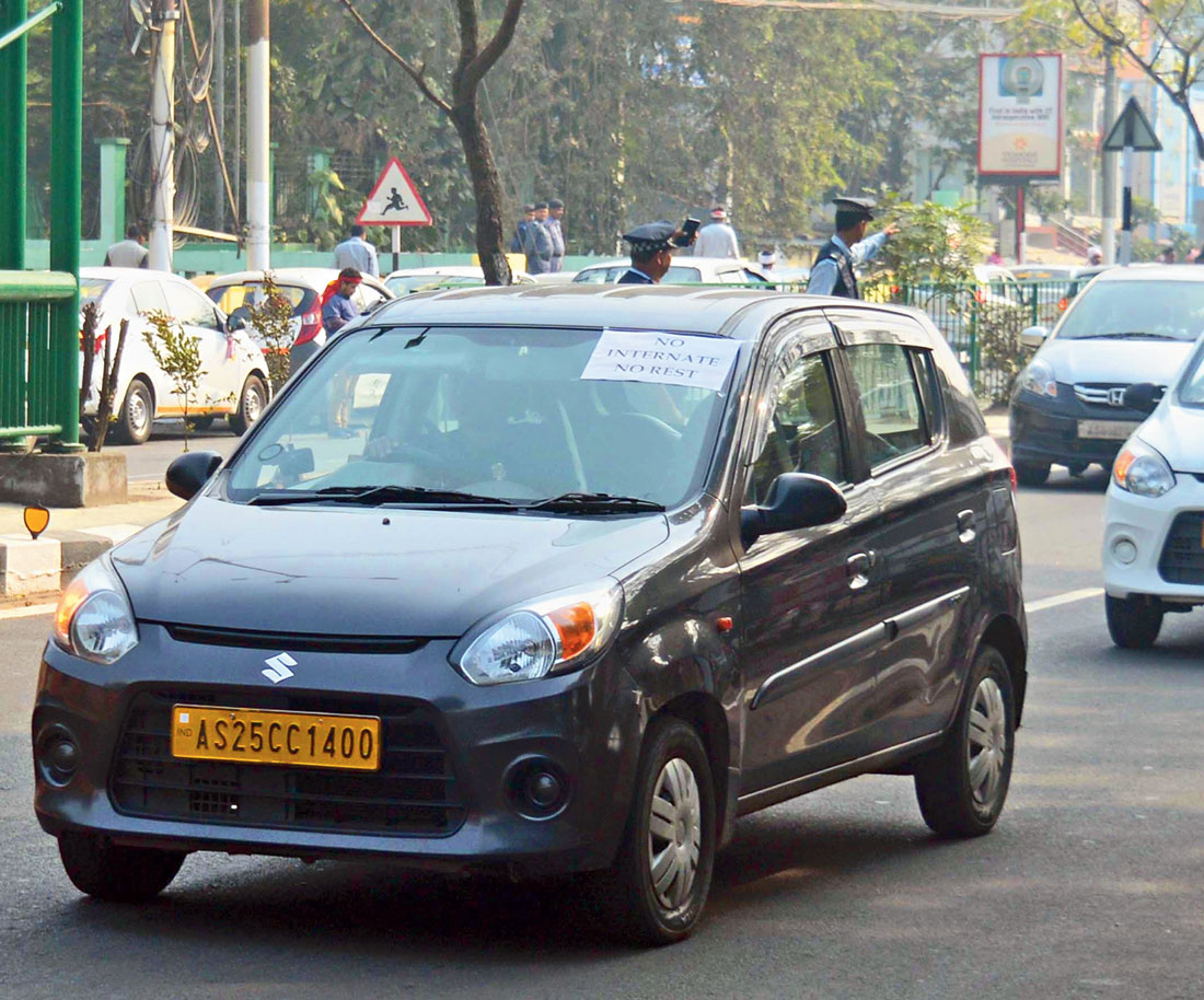 App-based cab operators take out a rally in Guwahati on Tuesday