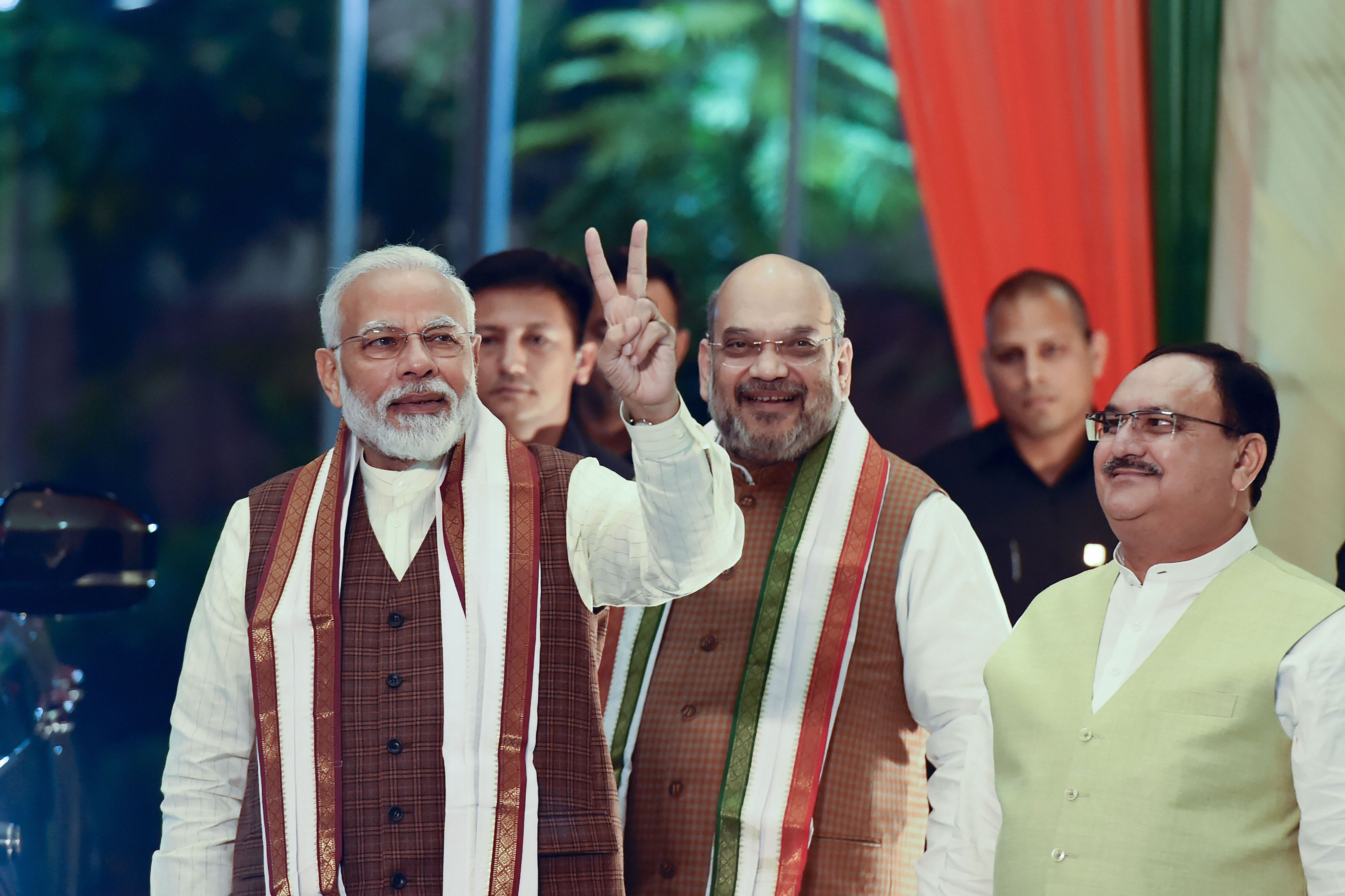 Prime Minister Narendra Modi arrives to address supporters after the results of Haryana and Maharashtra Assembly polls were declared, at BJP headquarters, in New Delhi, Thursday, October 24, 2019.