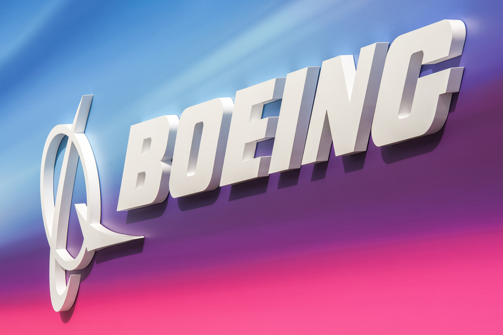 A Boeing exhibition billboard