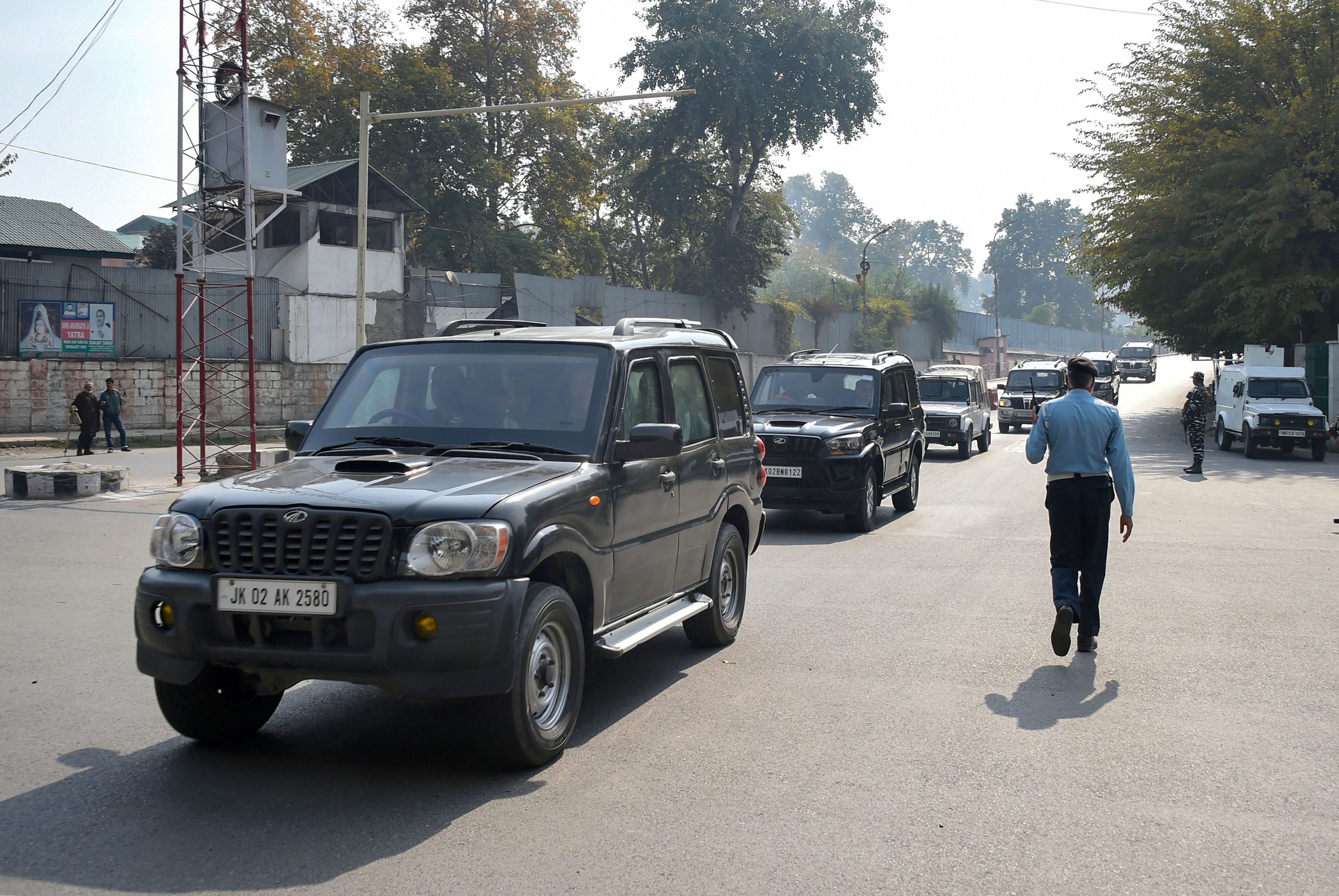 The motorcade of European Union delegation arrives in Srinagar on a two-day visit, Tuesday, October 29, 2019.