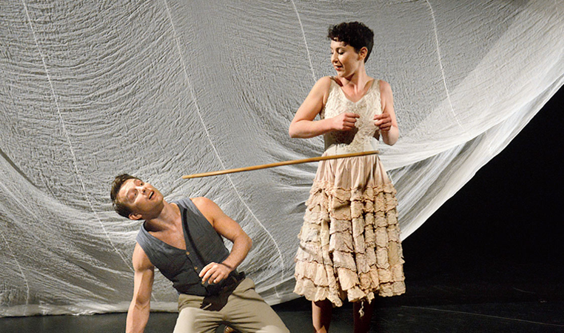 David Carberry and Alice Muntz perform with a hoop