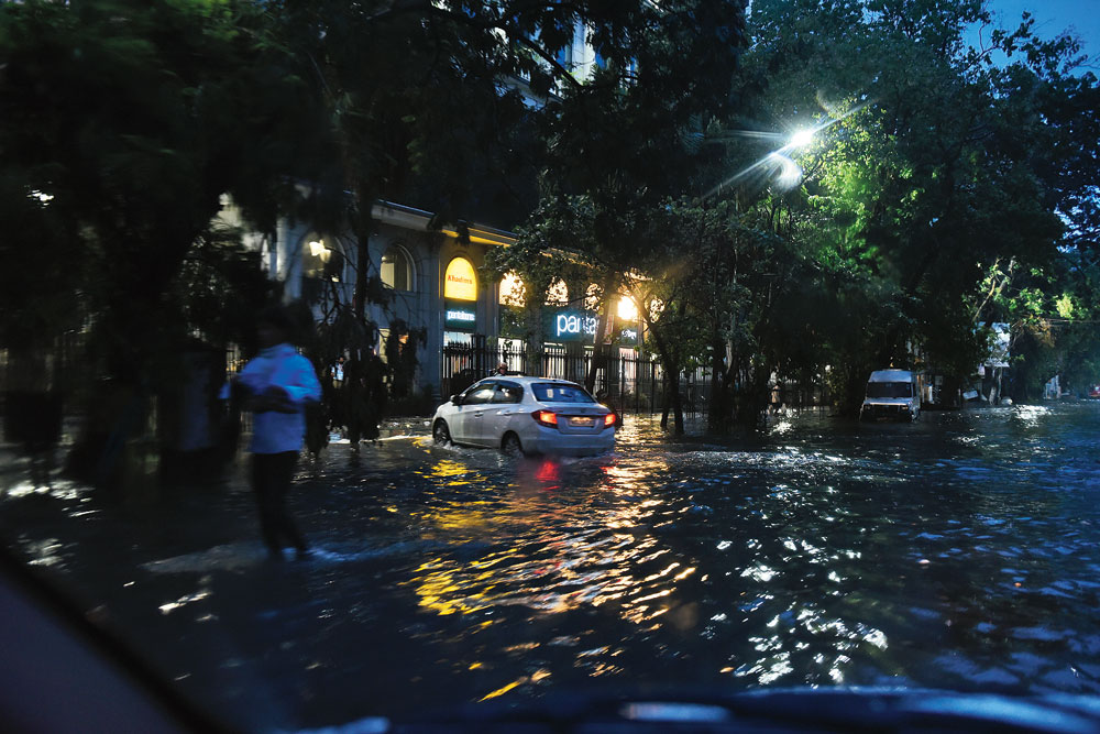 "A waterlogged Camac Street on Sunday evening after Calcutta's first ""pre-monsoon showers"" flooded several parts of the city."
