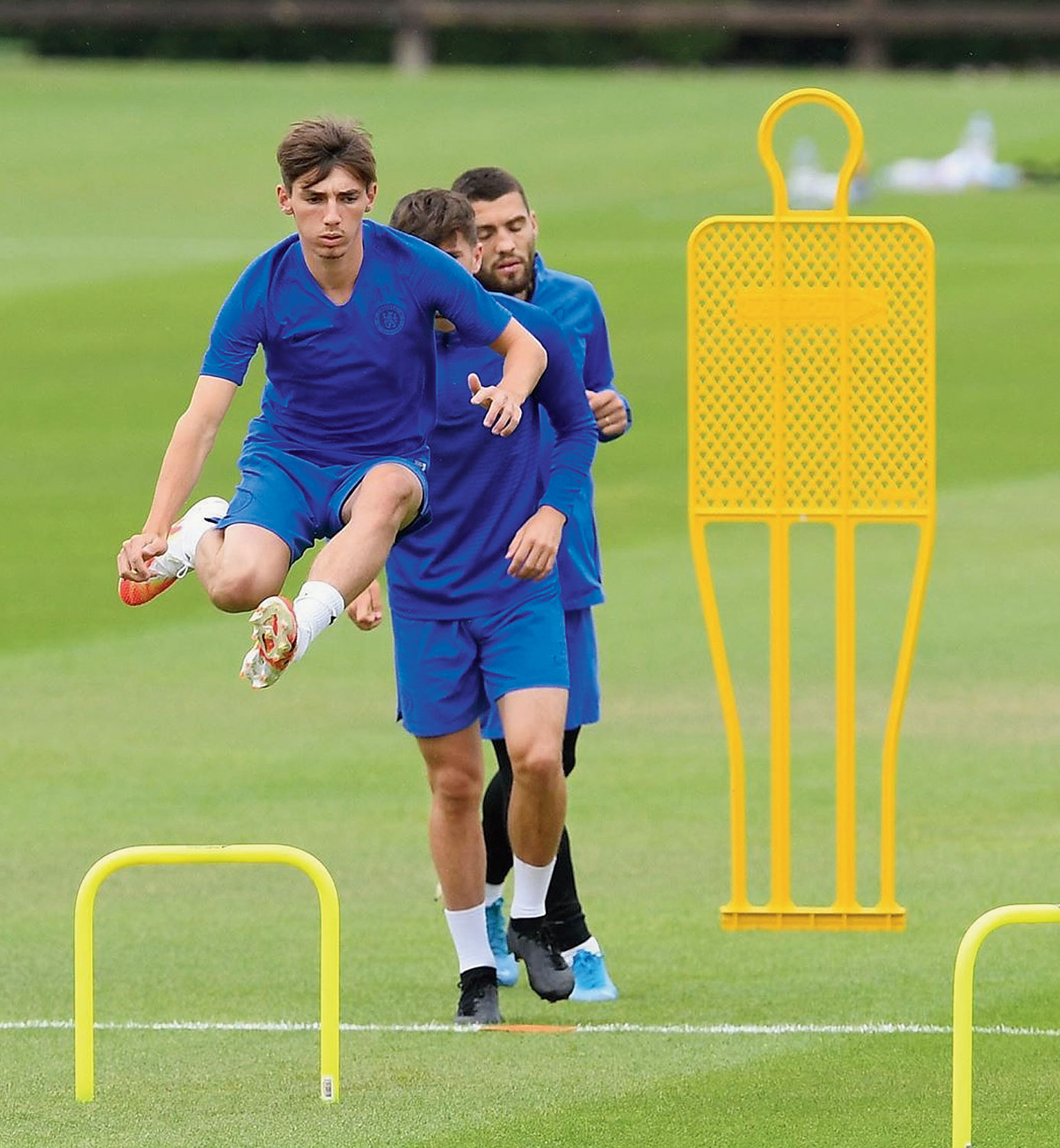 Chelsea players during a training session on Saturday.