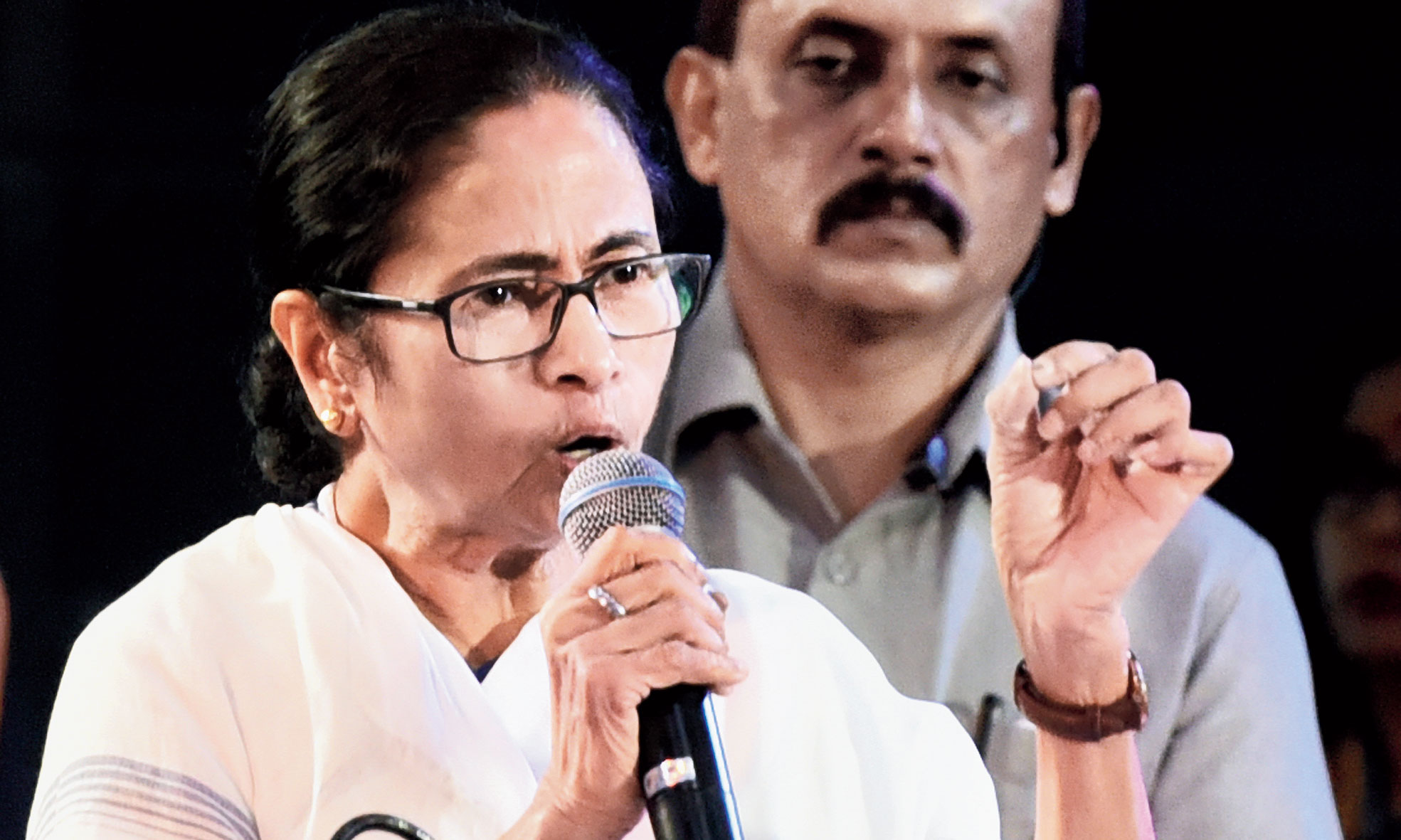 Mamata Banerjee at an event in Calcutta on Thursday.