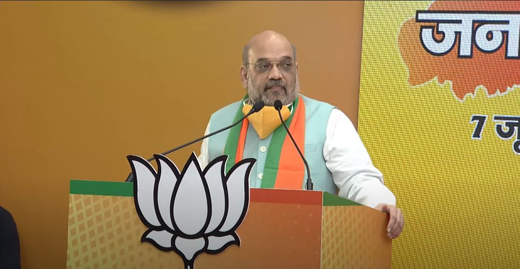 Amit Shah at the rally on June 7, 2020.