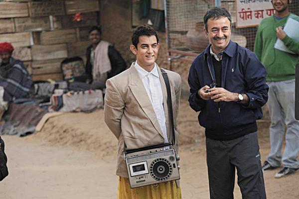 Rajkumar Hirani with Aamir Khan on the sets of PK