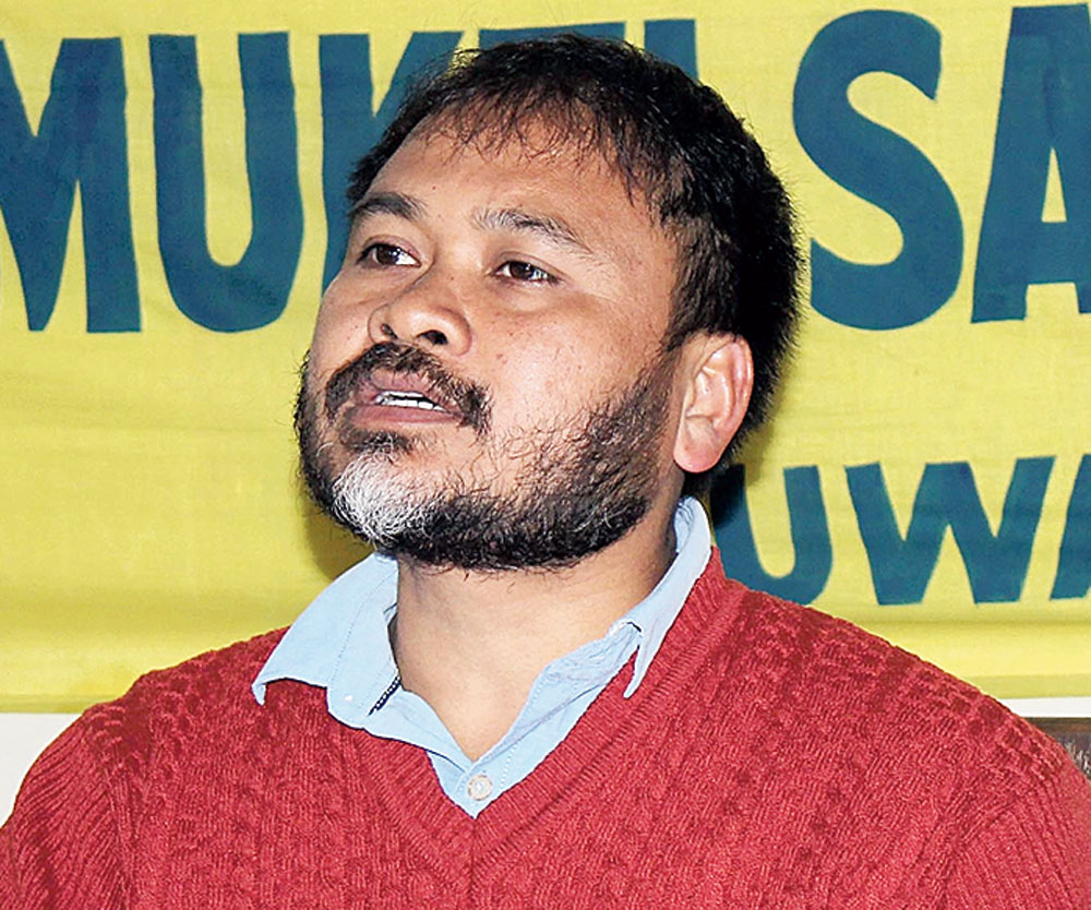Senior KMSS leader Mukut Deka said they had staged the protests by adhering to social distancing norms across the state seeking the repeal of the contentious law and release of our four leaders, including Akhil Gogoi (in picture). ""
