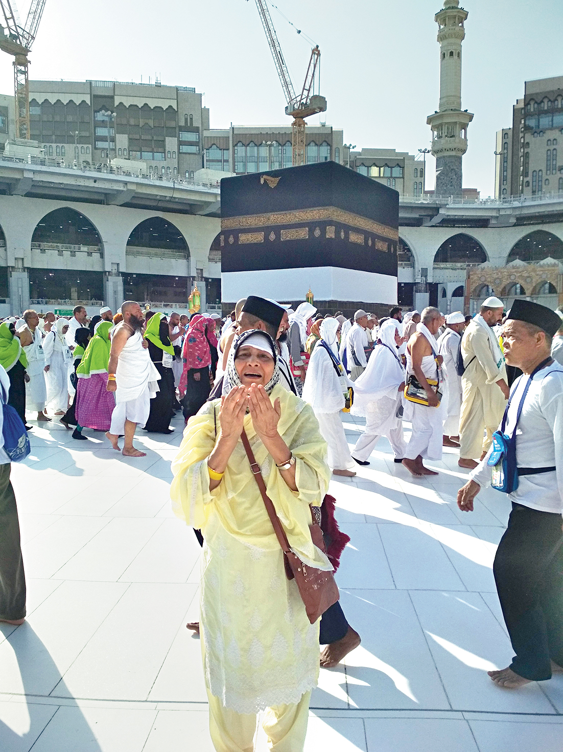 Maqsooda Begum at the holy Kaaba in Mecca