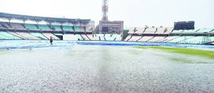 Eden Gardens (in picture) lay uncovered on Friday, exposed to heavy rain