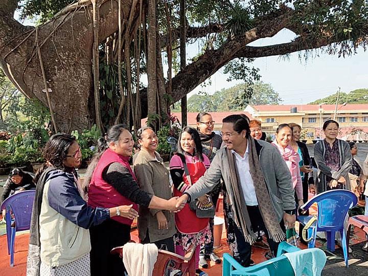 Meghalaya chief minister Conrad K. Sangma greets people at Garo Baptist church in Tura