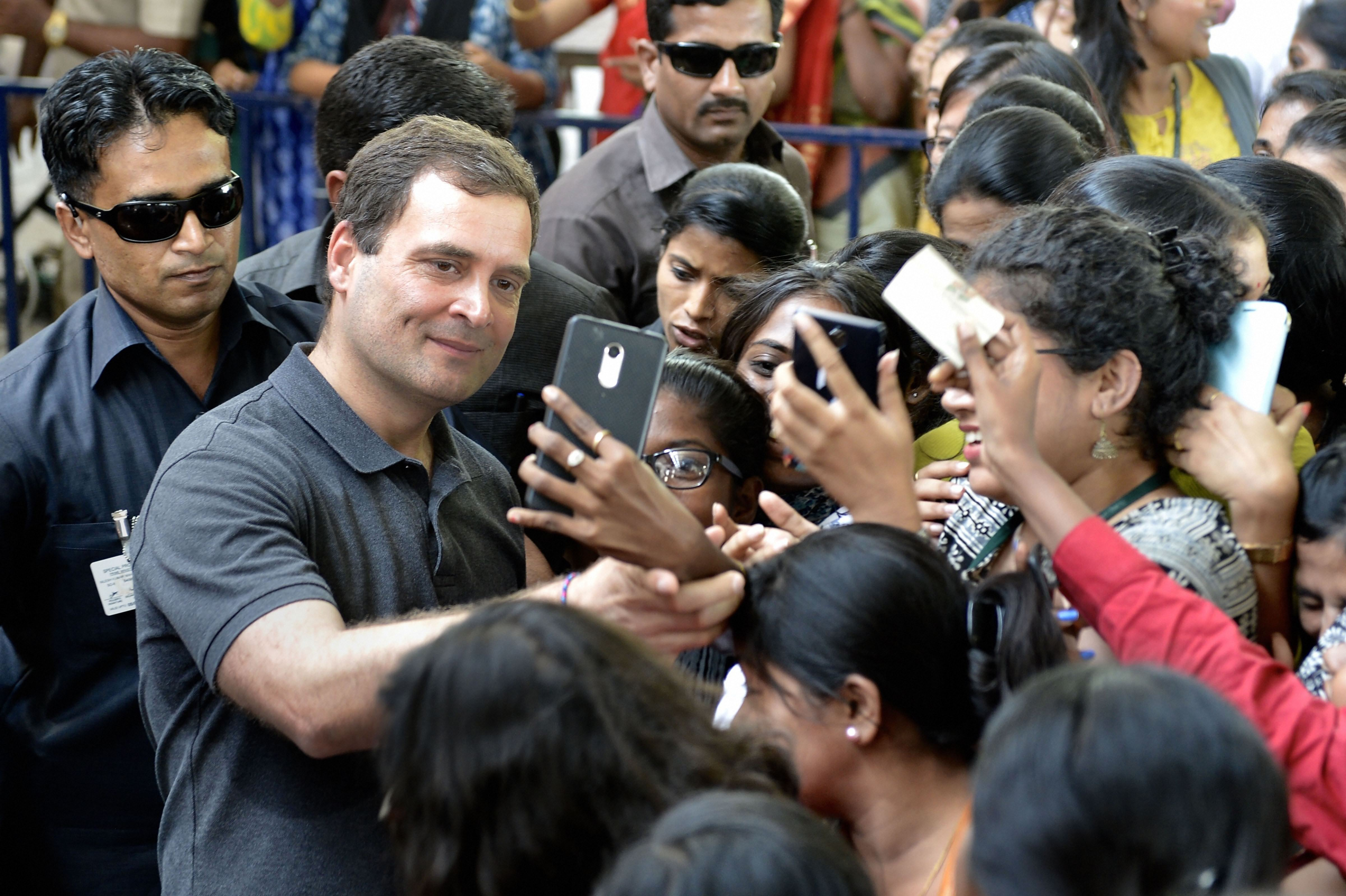 Rahul Gandhi with college students in Chennai on Wednesday.
