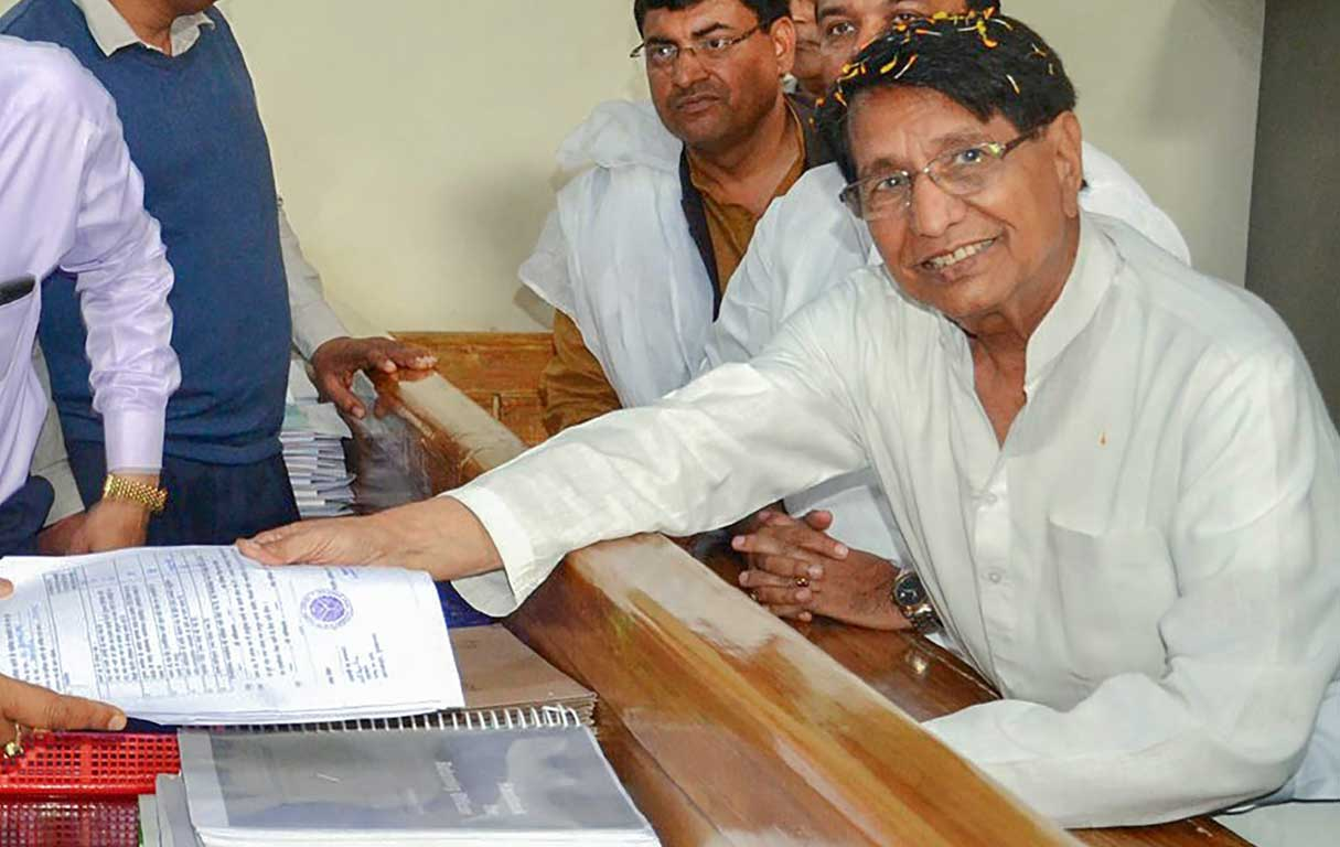 RLD chief Ajit Singh files his nomination papers ahead of the Lok Sabha elections, in Muzaffarnagar, on March 25, 2019.