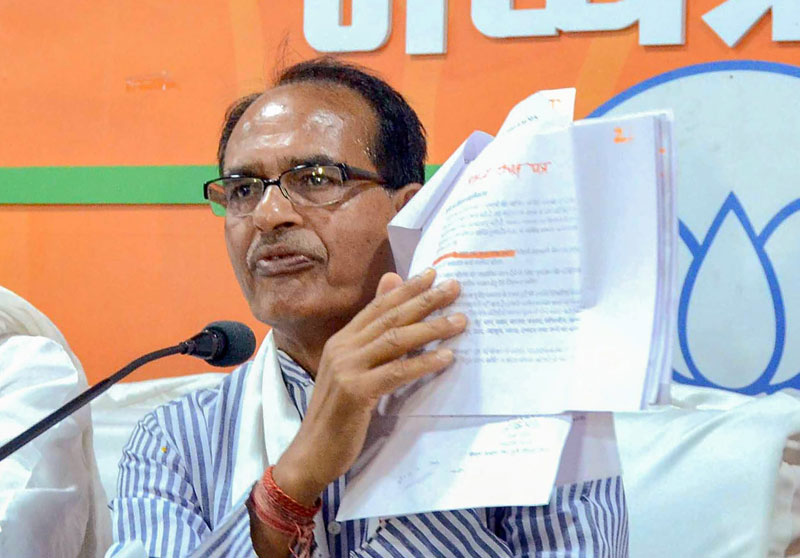 BJP leader Shivraj Singh Chouhan at a press conference in Bhopal on Thursday, May 9, 2019.