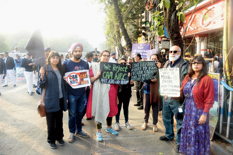 "Abeer Chakravarty (second from right), a retired advertising professional, was standing near the KC Das outlet with family and friends. ""This is like a family outing, but one of protest. The present situation is worse than the Emergency,"" he said"