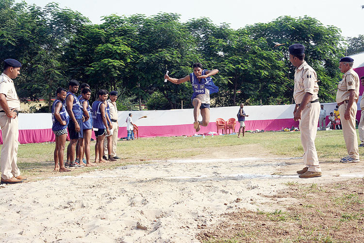 A candidate at a physical test at Patna High School ground