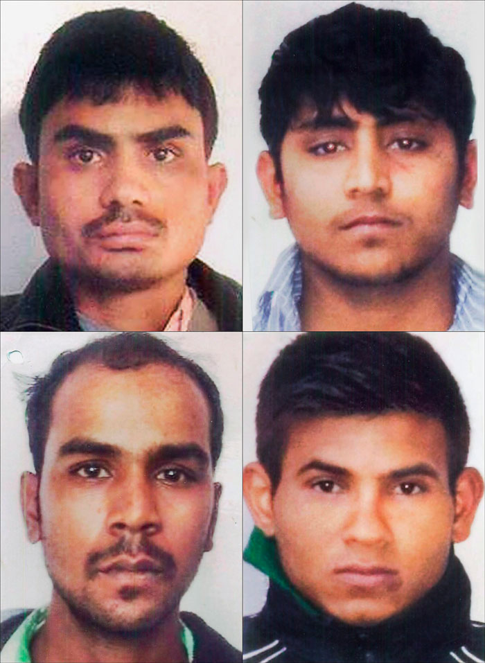 2012 Delhi gang rape case convicts, clockwise from top left, Akshay Thakur, Pawan Gupta, Vinay Sharma, and Mukesh Singh.
