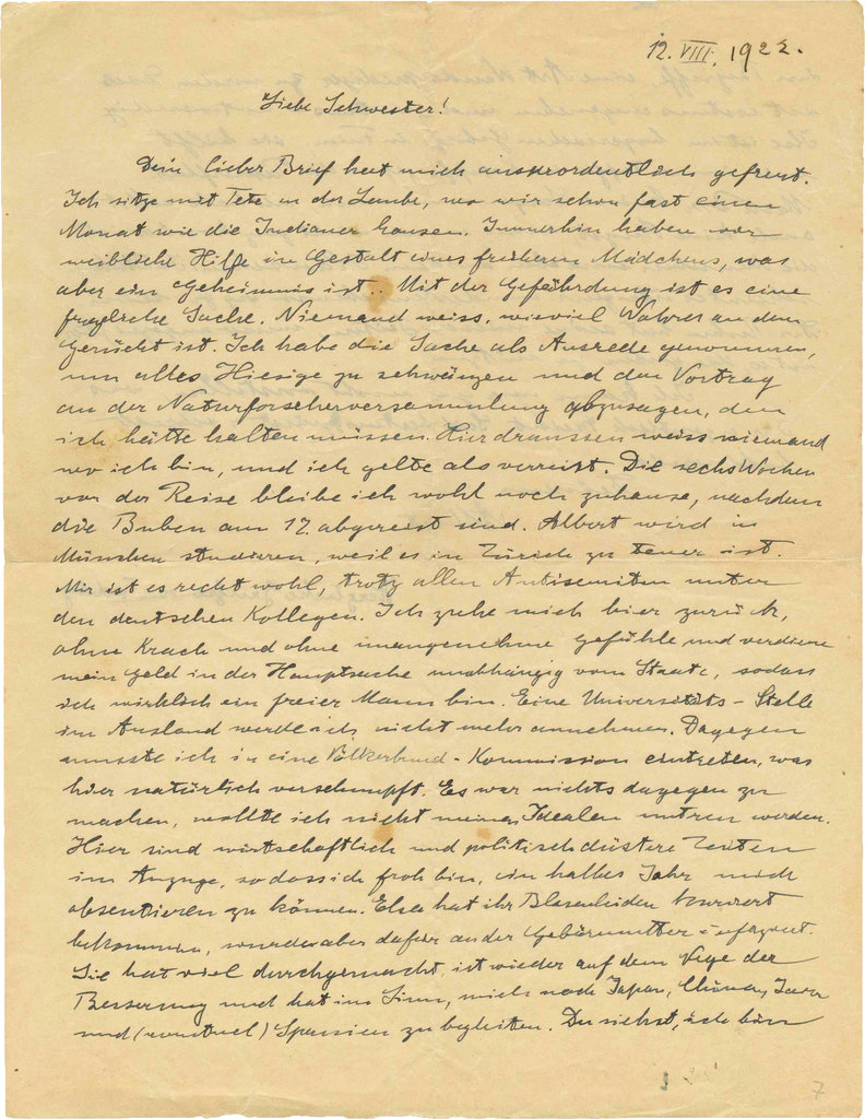 This undated photo released by the Kedem Auction House shows a copy of the 1922 letter Einstein wrote to his sister Maja.