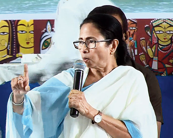 Mamata Banerjee at the administrative meeting on Wednesday